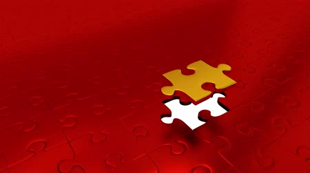 propagação : Just One Gold Piece Puzzle Piece All Other Red Puzzle Pieces into Gold Stock Footage