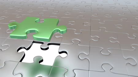 flee : Just One Gray Piece Puzzle Piece of Gray Pieces and becoming Green Stock Footage