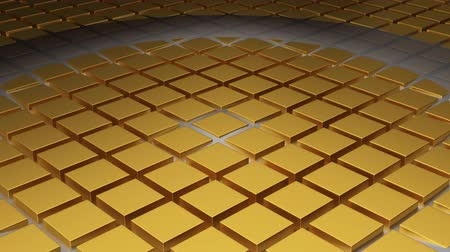 gravitational : Quick White Circle Waves moving along a floor of Golden Cubes