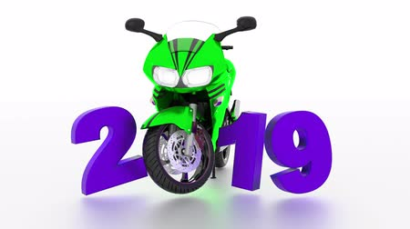 alaşım : Sport Motorbike 2019 design in Infinite Rotation on a White Background Stok Video