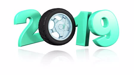 tuning : Car Sport Wheel 2019 Popup Design in Infinite Rotation on a White Background Stock Footage