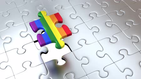 integração : Rotation around One Big Rainbow Piece Puzzle Pieces above many others Gray Pieces