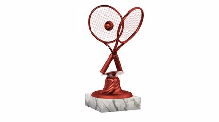 végső : Tennis Bronze Trophy with Racket and Ball in Infinite Rotation on a white background Stock mozgókép
