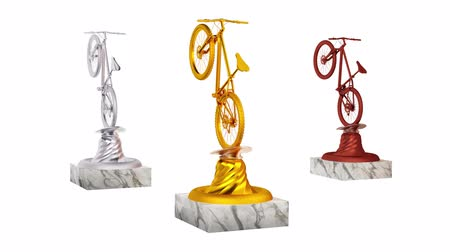 végső : Mountain Bike Gold Silver and Bronze Trophies with Marble Bases in Infinite Rotation on a white background Stock mozgókép