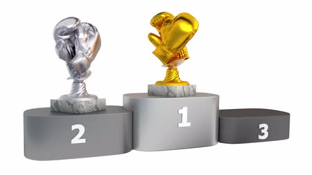 подиум : Boxing Gold Silver and Bronze Trophies with Marble Backgrounds Appear on Podium with White Background