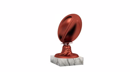 подиум : Rugby Bronze Trophy with Marble Base in Infinite Rotation on a white background