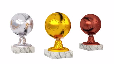 piłka ręczna : Handball Gold Silver and Bronze Trophies with Marble Bases in Infinite Rotation on a white background