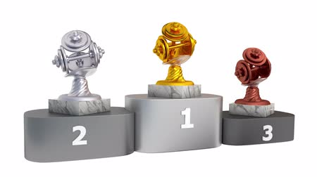 body building : Dumbbell Gold Silver and Bronze Trophies with Marble Bases on a Podium in Infinite Rotation