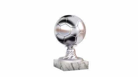 piłka ręczna : Handball Silver Trophy with Marble Base in Infinite Rotation on a white background Wideo