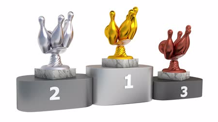 polished : Bowling Gold Silver and Bronze Trophies with Marble Bases on a Podium in Infinite Rotation