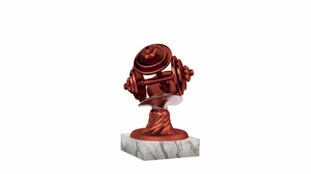 infinito : Dumbbell Bronze Trophy with Marble Bases in Infinite Rotation on a white background Stock Footage