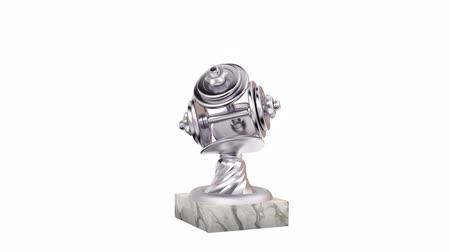 infinito : Dumbbell Silver Trophy with Marble Bases in Infinite Rotation on a white background Stock Footage