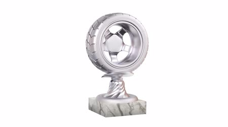 por que : Sport Wheel Silver Trophy with Marble Bases in Infinite Rotation on a white background