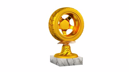 por que : Sport Wheel Gold Trophy with Marble Bases in Infinite Rotation on a white background