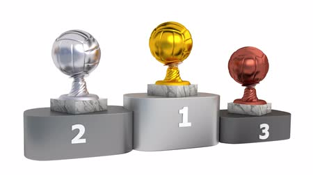 infinito : Volleyball Gold Silver and Bronze Trophies with Marble Bases on a Podium in Infinite Rotation Stock Footage