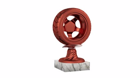 настройка : Sport Wheel Bronze Trophy with Marble Bases in Infinite Rotation on a white background