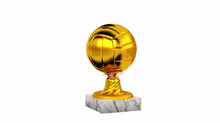 torneio : Volleyball Gold Trophy with Marble Base in Infinite Rotation on a white background