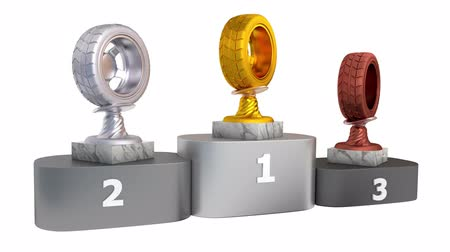 aro : Sport Wheel Gold Silver and Bronze Trophies with Marble Bases on a Podium in Infinite Rotation