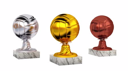 volleyball : Volleyball Gold Silver and Bronze Trophies with Marble Bases in Infinite Rotation on a white background