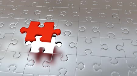 propagação : Zooming on One Red Puzzle Piece which escape from many Gray Pieces