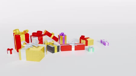 glistering : Several Christmas Gifts and Some Balls with Little Ribbons appearing in Popup With a White Background