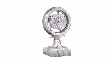 infinito : Sport Wheel Motorbike Silver Trophy with Marble Base in Infinite Rotation on a white background Stock Footage