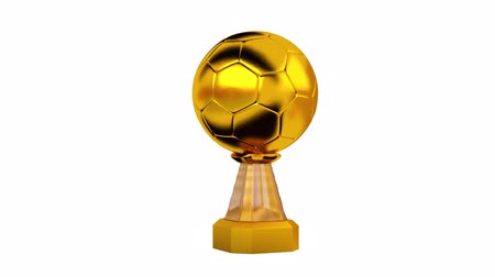 primer lugar : Front View of Gold Trophy Handball in Infinite Rotation on white background Archivo de Video