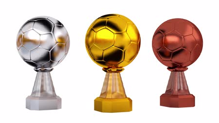 primer lugar : Front View of Gold Handball Silver and Bronze Trophies in Infinite Rotation on white background Archivo de Video