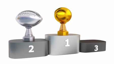 primer lugar : American Football Silver and Bronze Trophies Appearing on Podium with white background
