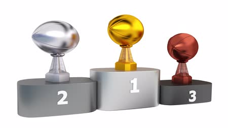 bonus : American Football Gold Silver and Bronze Trophies on Podium In Infinite Rotation Stock Footage