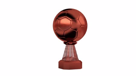 prémie : Front View of Handball Bronze Trophy in Infinite Rotation on white background