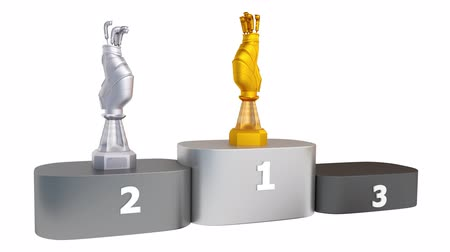подиум : Front View of Golf Gold Bag Silver and Bronze Trophies appear on Podium with white background