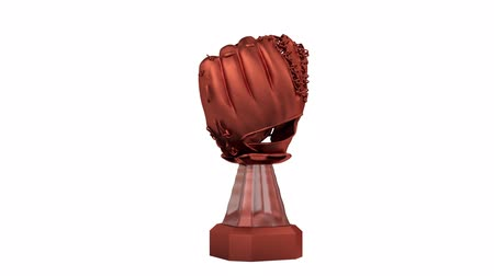 beisebol : Front View of Bronze Baseball Trophy in Infinite Rotation on white background
