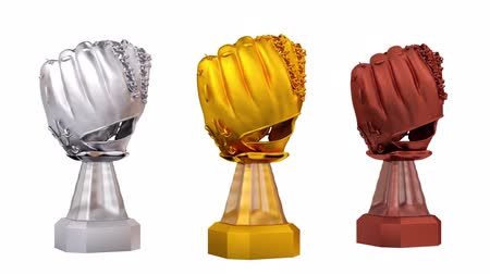 čelo : Front View of Gold Baseball Silver and Bronze Trophies in Infinite Rotation on white background
