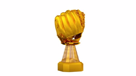 beisebol : Front View of Gold Trophy Baseball in Infinite Rotation on white background
