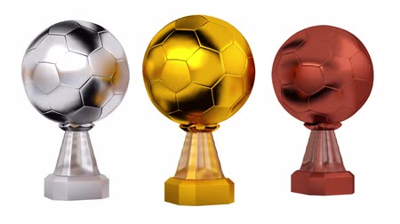 primer lugar : Front View of Gold Football Silver and Bronze Trophies in Infinite Rotation