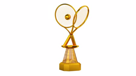 prémie : Front View of Tennis Gold Racket Trophy in Infinite Rotation