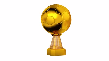 primer lugar : Front View of Gold Trophy Football in Infinite Rotation Archivo de Video