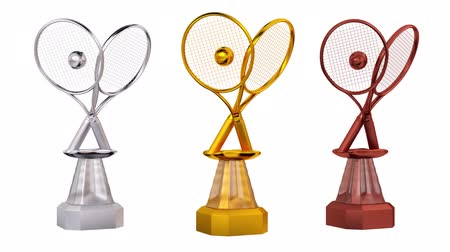 infinito : Front View of Tennis with Racket and Ball Trophies in Infinite Rotation