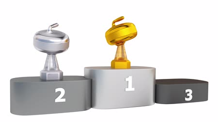 podium : View of Curling Stone Silver Silver and Bronze Trophies appear on Podium Stock Footage