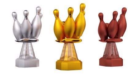čelo : Front View of Silver and Bronze Bowling Trophies in Infinite Rotation Dostupné videozáznamy