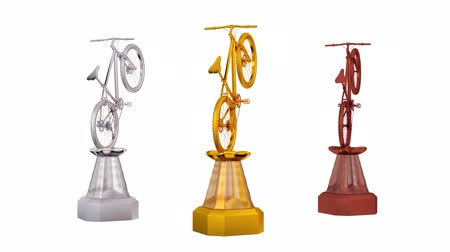 prêmio : Front View of Mountain Bike Silver Gold and Bronze Trophies in Infinite Rotation