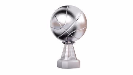 prémie : Front View of Silver Trophy Basketball in Infinite Rotation