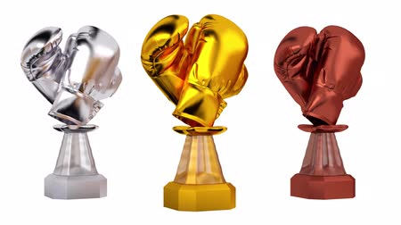 čelo : Front View of Gold Boxing Silver and Bronze Trophies in Infinite Rotation Dostupné videozáznamy