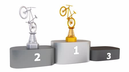 vrásčitý : View of Mountain Bike Silver Silver and Bronze Trophies appear on Podium