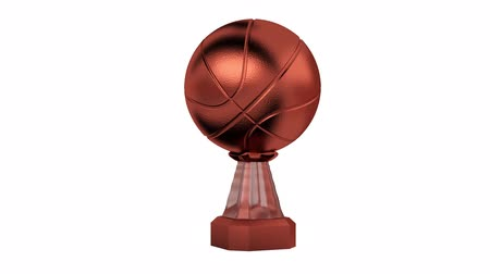 prémie : Front View of Bronze Basketball Trophy in Infinite Rotation