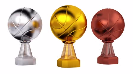 infinito : Front View of Basketball Silver Gold and Bronze Trophies in Infinite Rotation Stock Footage