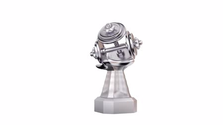 infinito : Front View of Hand Dumbbell Silver Trophy in Infinite Rotation Stock Footage