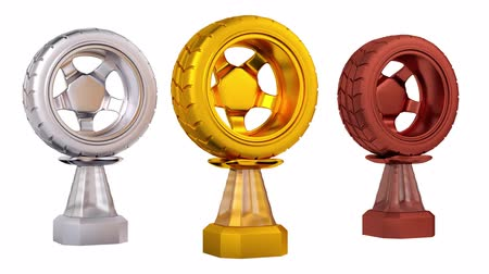 por que : Front View of Sport Car Gold Wheel Silver and Bronze Trophies in Infinite Rotation Stock Footage