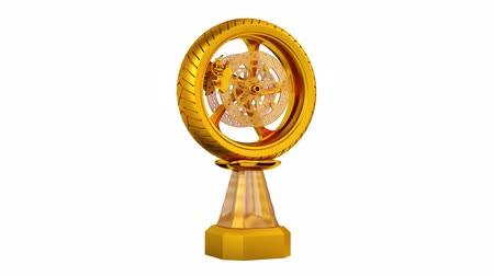 final : Front View of Motorbike Gold Trophy Wheel in Infinite Rotation Stock Footage